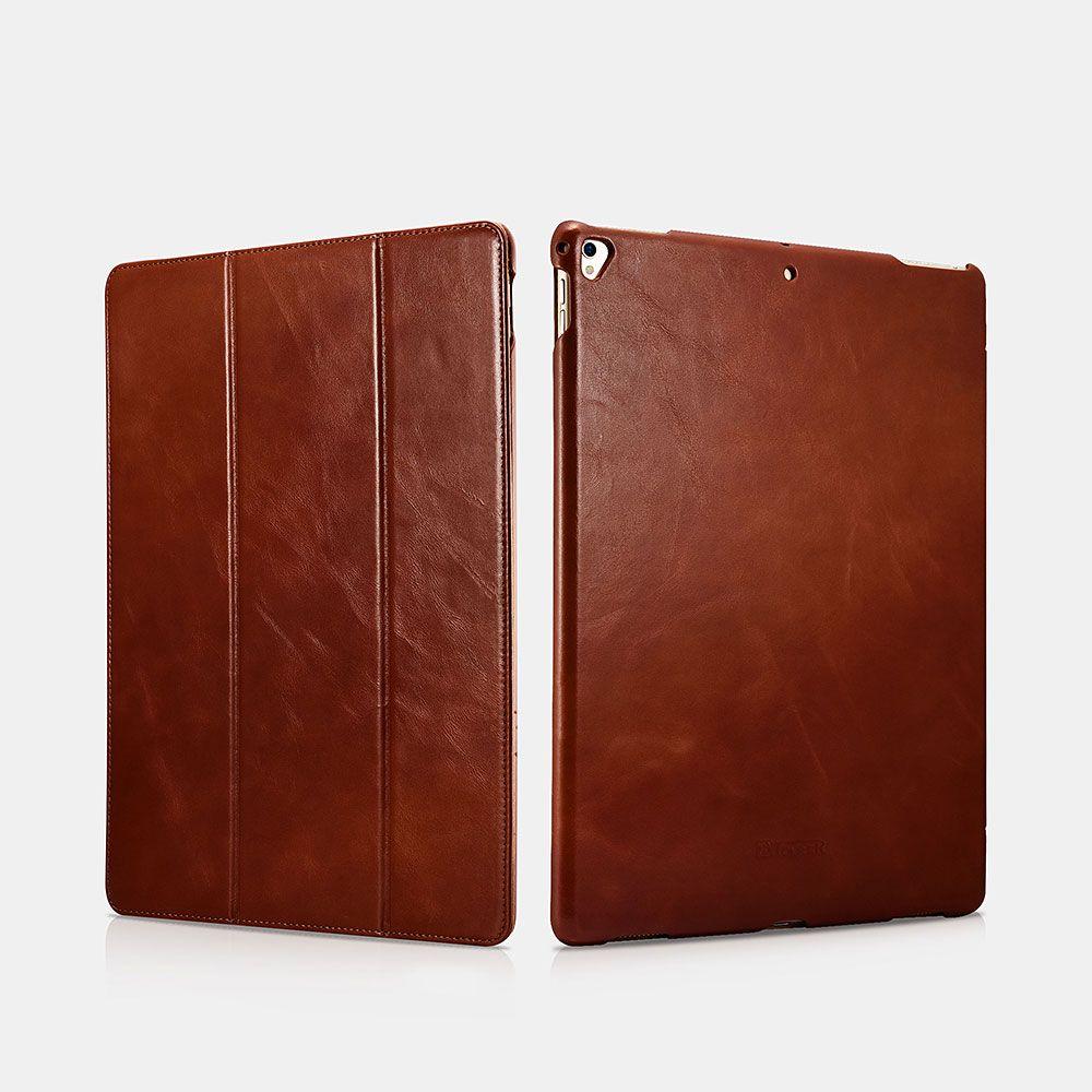 Image of   iPad Pro 12.9 - Icarer Vintage Series ægte læder etui - Brun