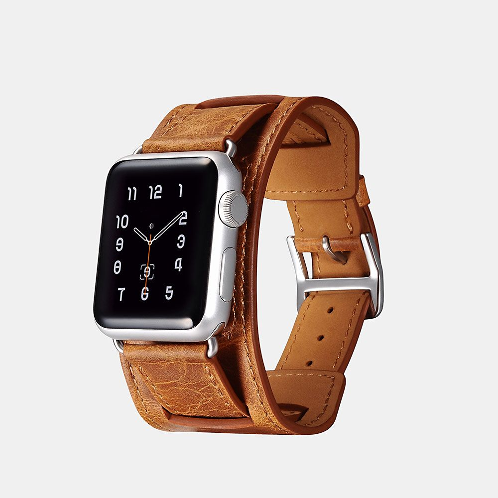 Image of   Apple Watch ICARER Quadri 42mm Series 3,2,1 - Ægte læder rem - Orange