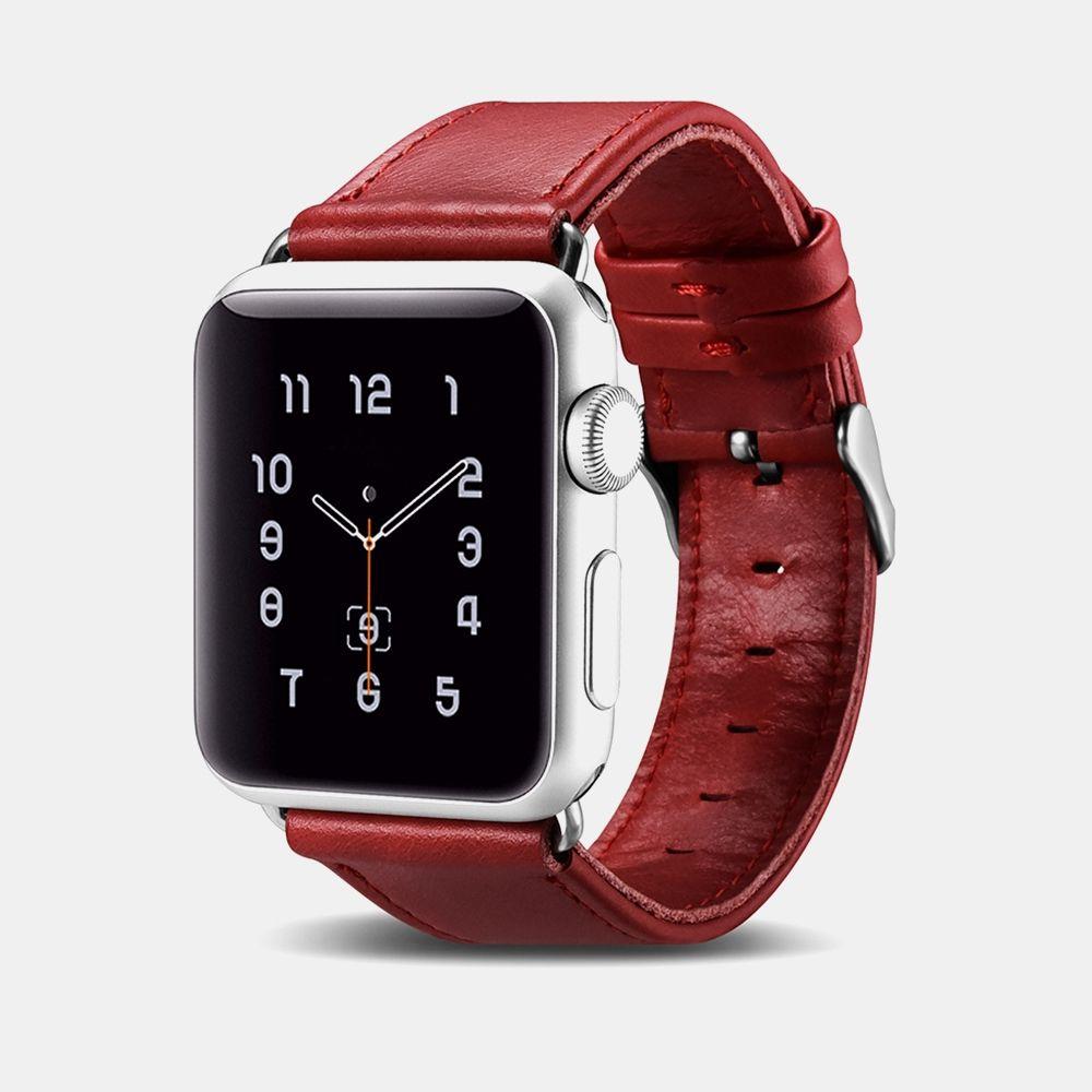 Image of   Apple Watch ICARER Vintage 38mm Series 3,2,1 - Ægte læder rem - Rød