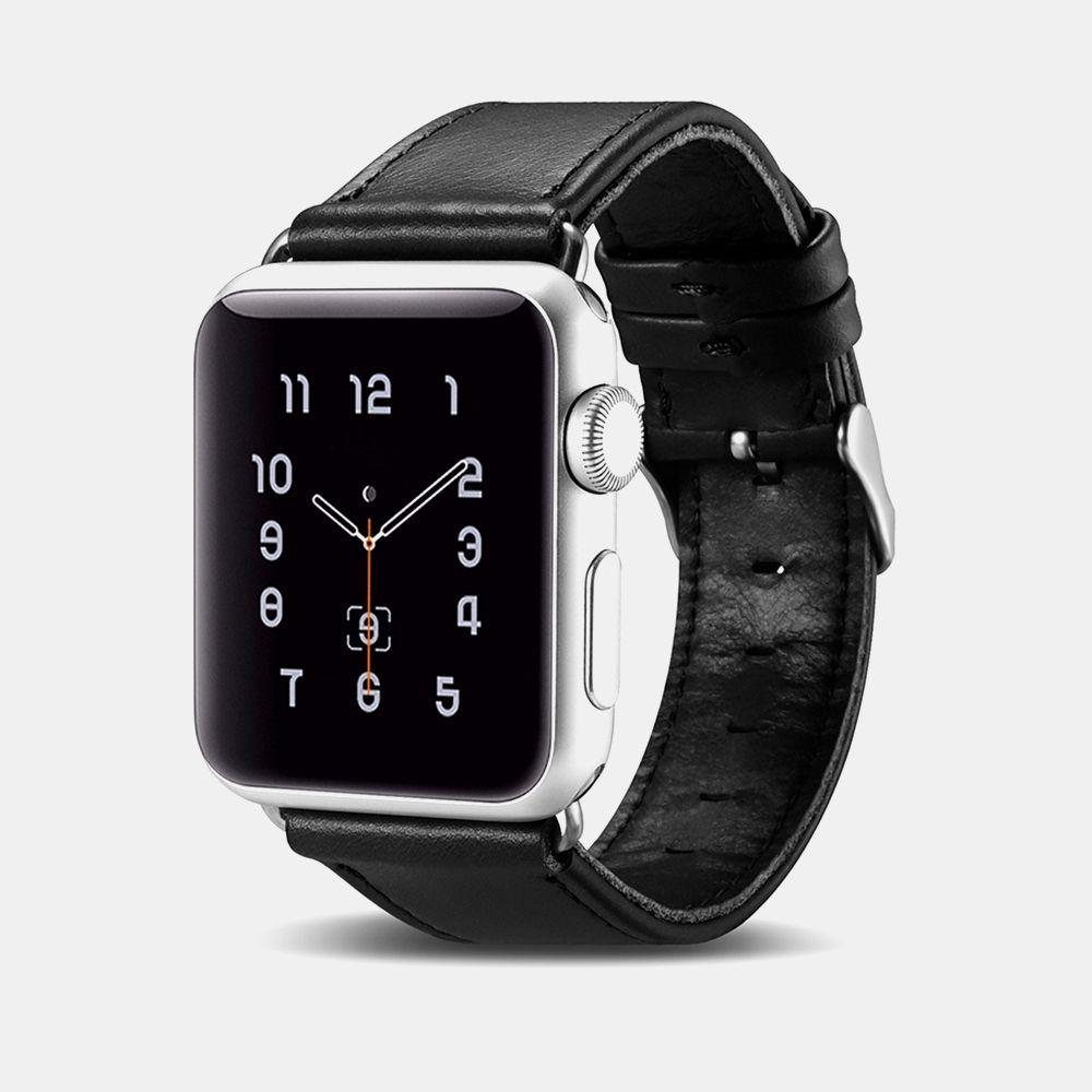 Image of   Apple Watch ICARER Vintage 42mm Series 3,2,1 - Ægte læder rem - Sort