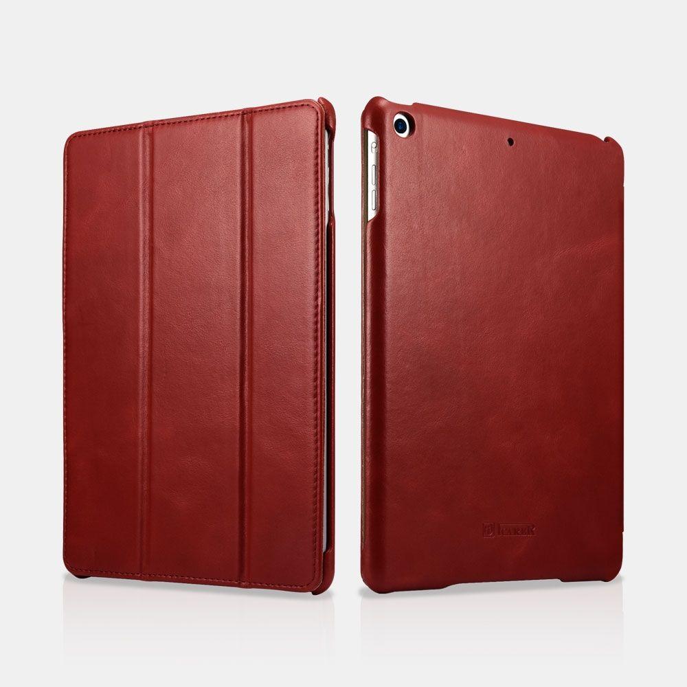 Image of   iPad 9.7 (2017 / 2018) - Icarer Vintage Series ægte læder etui - Rød