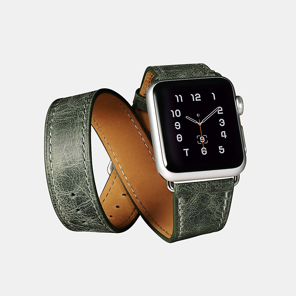Image of   Apple Watch ICARER Quadri 38mm Series 3,2,1 - Ægte læder rem - Grøn