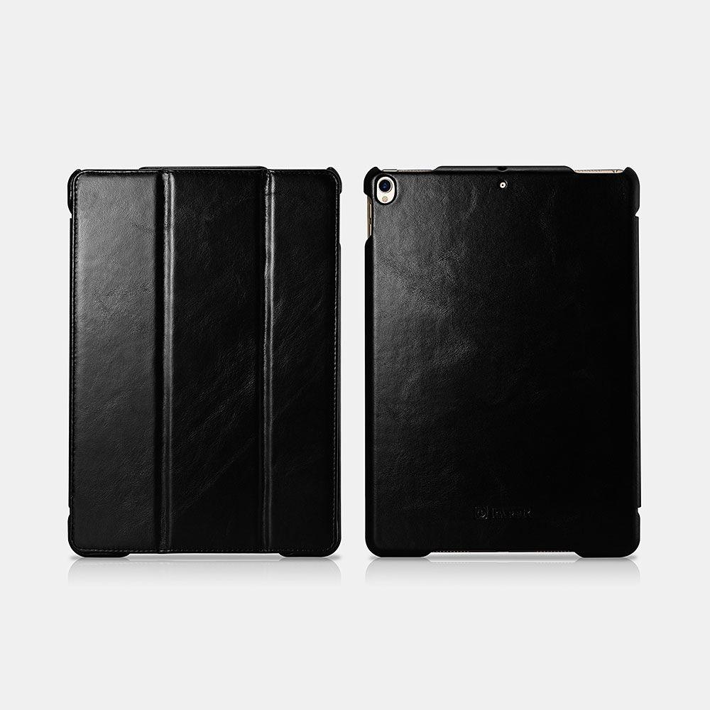 Image of   iPad Pro 10.5 - Icarer Vintage Series ægte læder etui - Sort