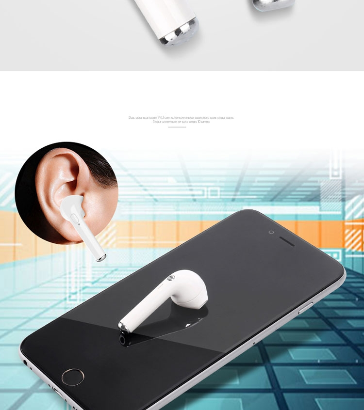Image of   Mini trådløs Bluetooth single In-Ear Høretelefon m/mikrofon - Hvid