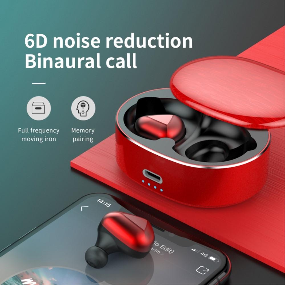 Billede af Dynamic 6D - Trådløse Bluetooth Ear-Buds med Touch Funktion & Opladerbox - Rød