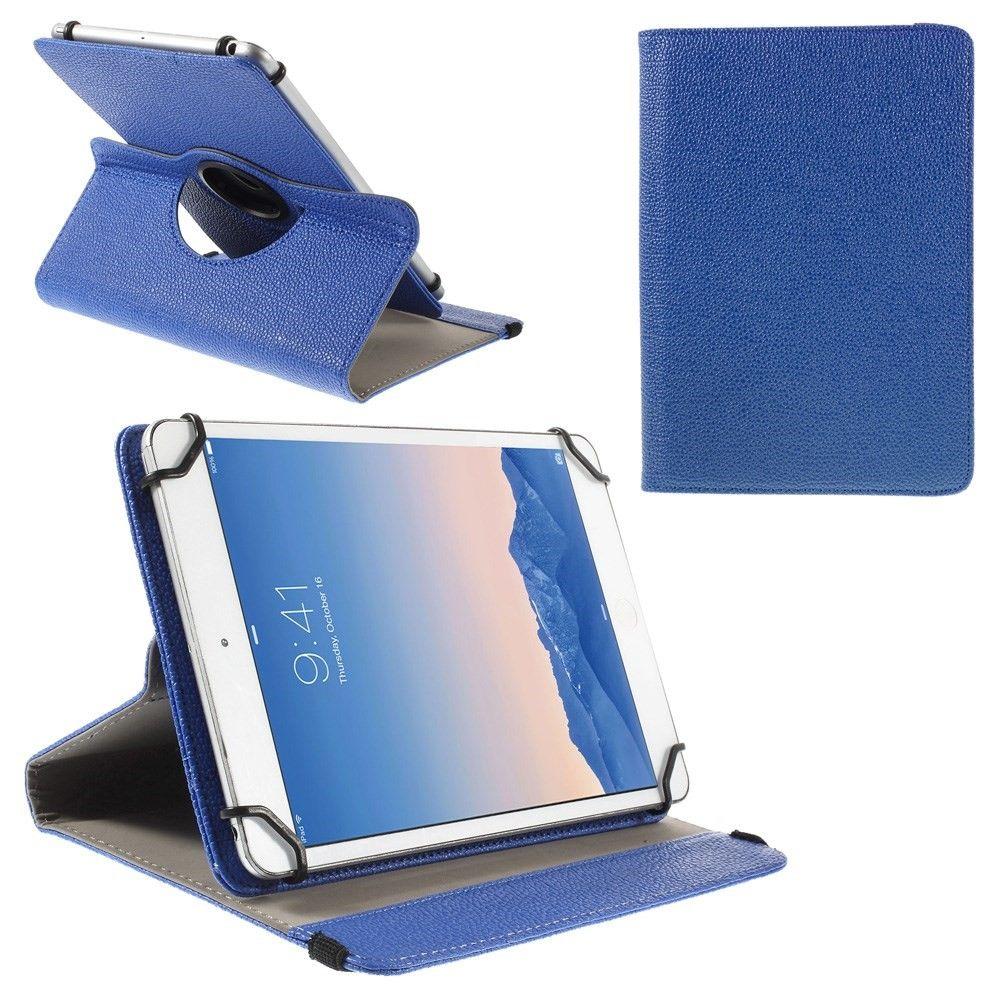 """Universal iPad/Tablet Litchi læder cover til 9-10"""" roterbar 360 grader - Mørkeblå"""