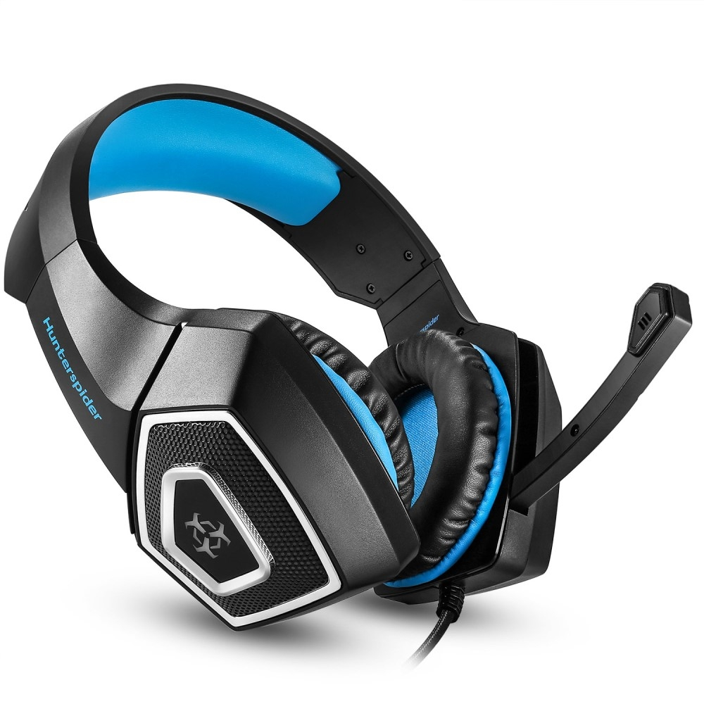Image of   HUNTER Spider V1 - Gaming Over-Ear Høretelefoner med indbygget lys - Blå