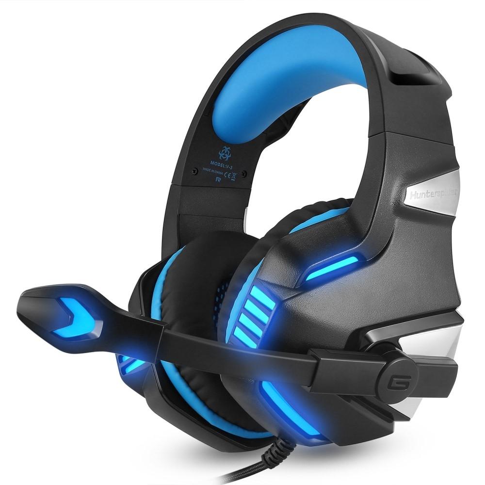 Image of   HUNTER SPIDER - V3 Gamer Høretelefoner m/mikrofon & LED lys - Blå