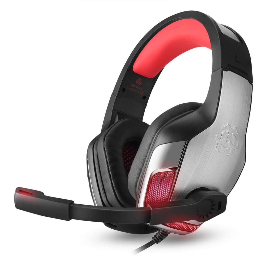 Image of   HUNTER SPIDER - V4 Gamer Høretelefoner m/mikrofon & LED lys - Rød