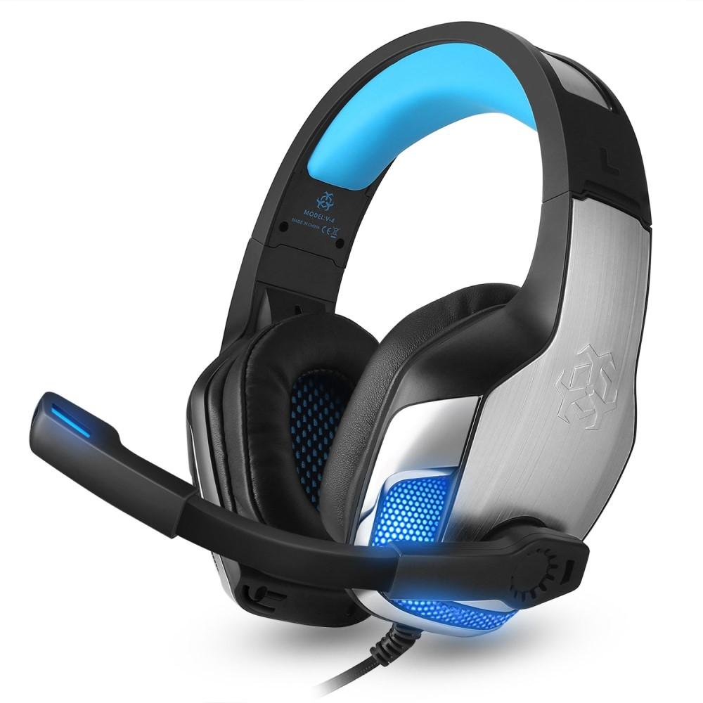 Image of   HUNTER SPIDER - V4 Gamer Høretelefoner m/mikrofon & LED lys - Blå