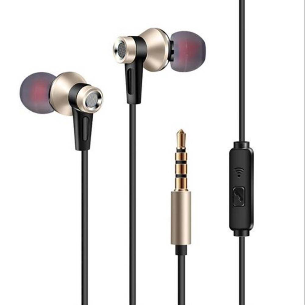 Billede af Mega Bass In-Ear Høretelefoner med 3.5mm audio kabel - Med mikrofon & Kontrolpanel - Guld