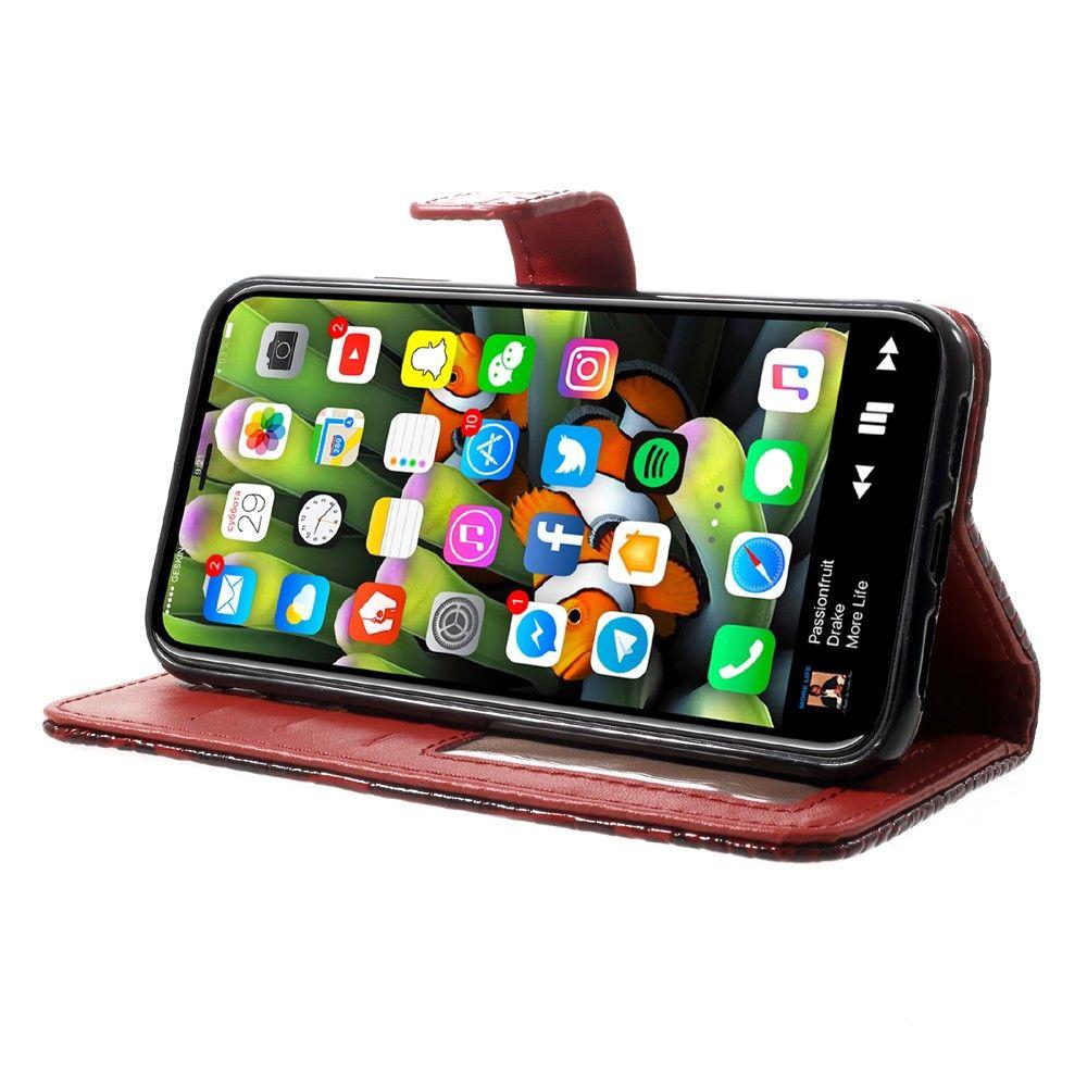 Image of   iPhone X - Pu læder cover med Krokodille design - Rød