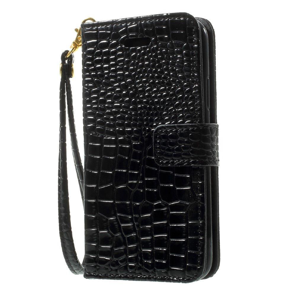 Image of   iPhone X - Pu læder cover med Krokodille design - Sort