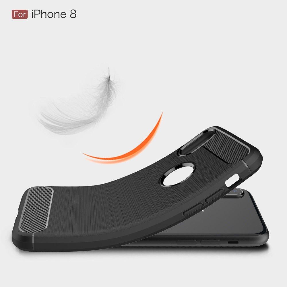 Image of   iPhone X - TPU blødt cover med børstet flade - Sort