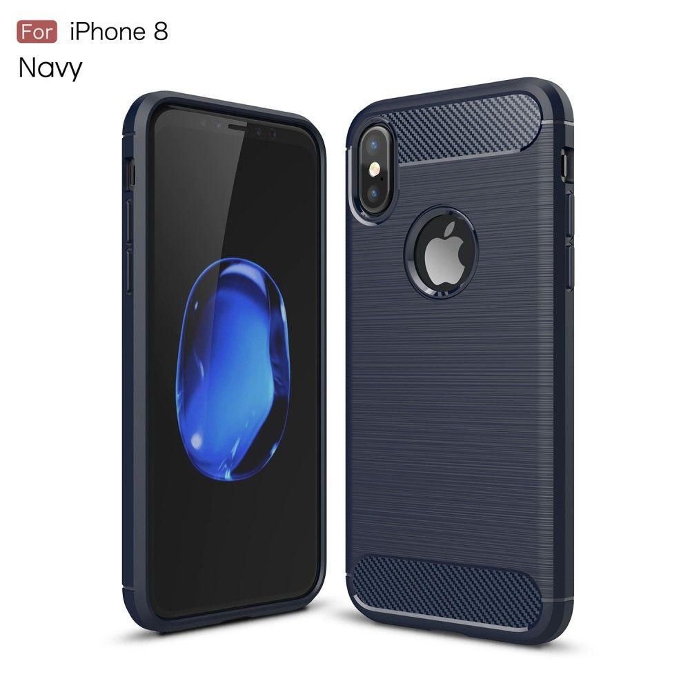 Image of   iPhone X - TPU blødt cover med børstet flade - Mørkeblå