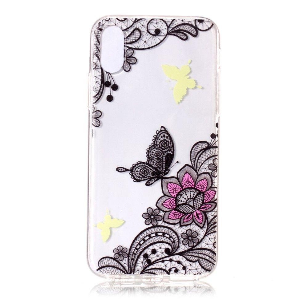 Image of   iPhone X - TPU blødt cover præget med blomster & sommerfugl