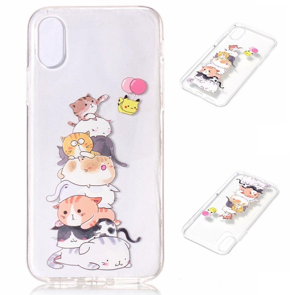 Image of   iPhone X - TPU blødt cover præget med katte