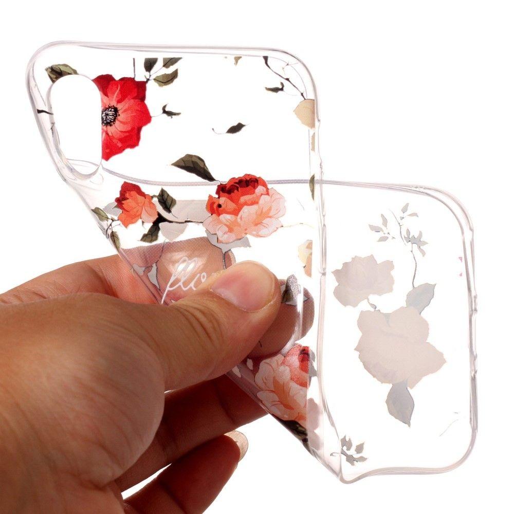 Image of   iPhone X - TPU blødt cover præget med roser