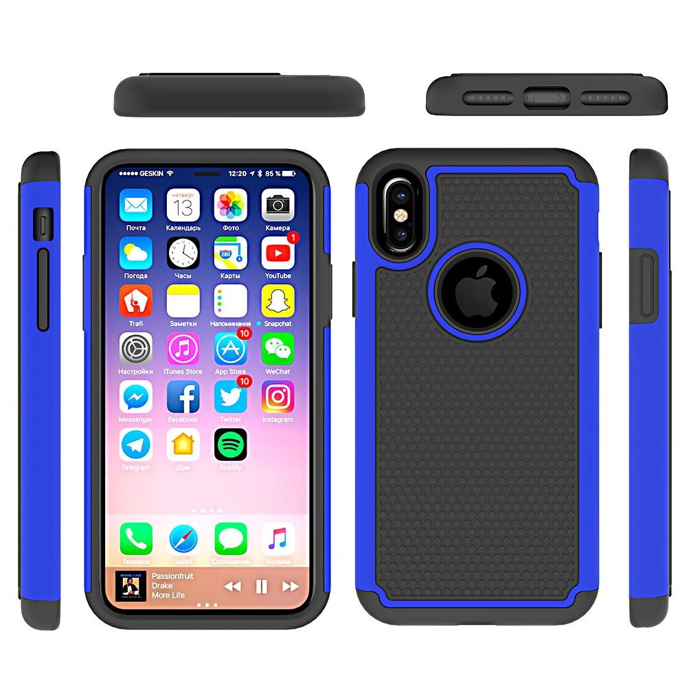 Image of   iPhone X - Football Hybrid PC+Silikone cover - Blå