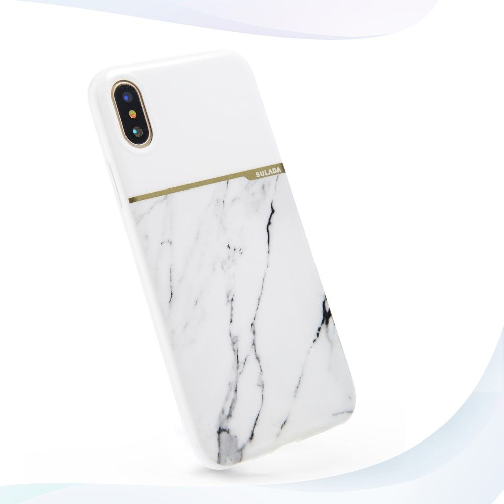 Image of   iPhone X - TPU cover SULADA Marble - Hvid