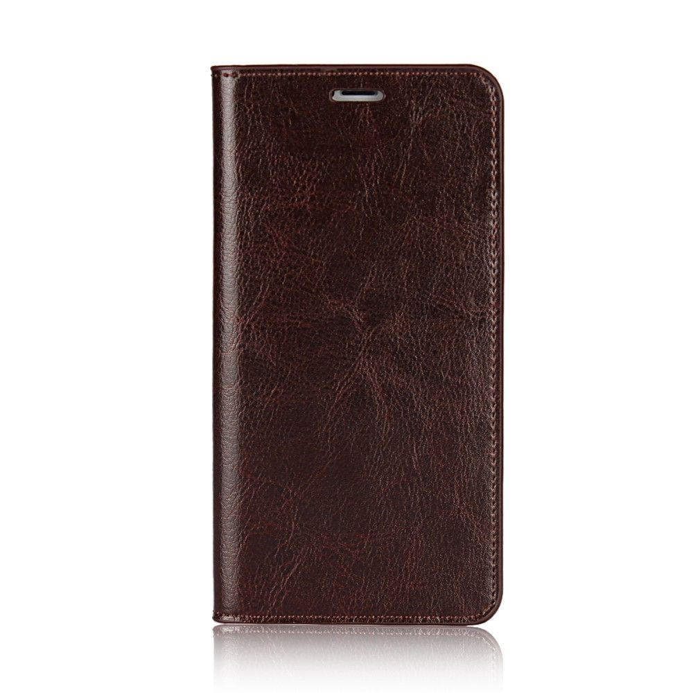 iPhone X - Ægte læder cover Crazy Horse m/kortslots - Kaffe