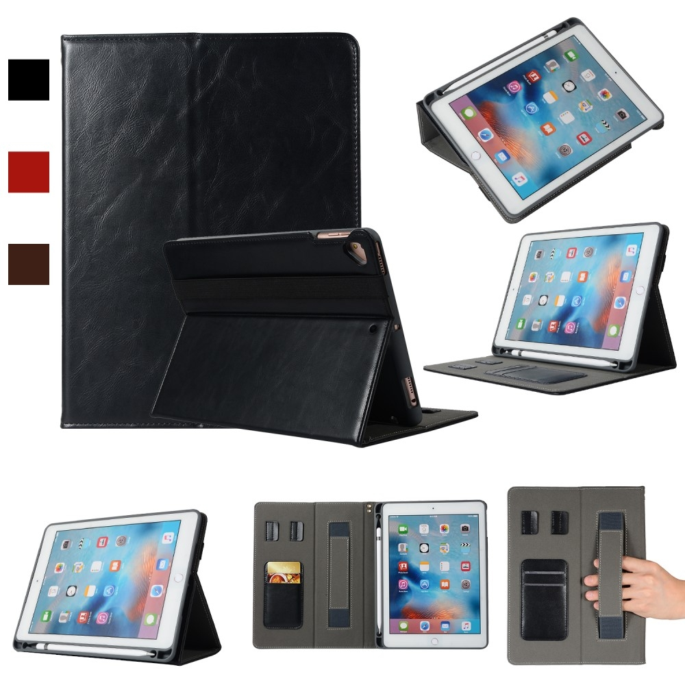 iPad 9.7 / Air / Air 2 - Smart læder cover / taske m. pen holder - Sort