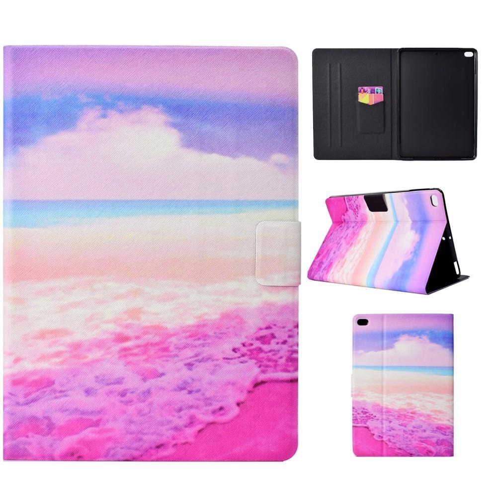 Image of   iPad 9.7 (2017/2018) - Læder cover med kortholder - Flot mønster - Pink hav