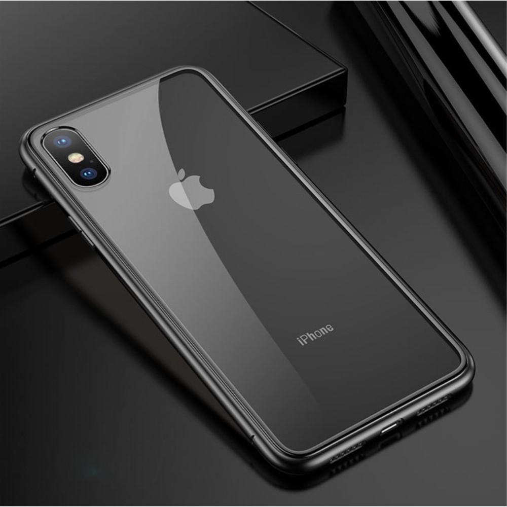 Image of   iPhone Xs/X - Hardcover metal/hærdet glas - Transparent/Sort