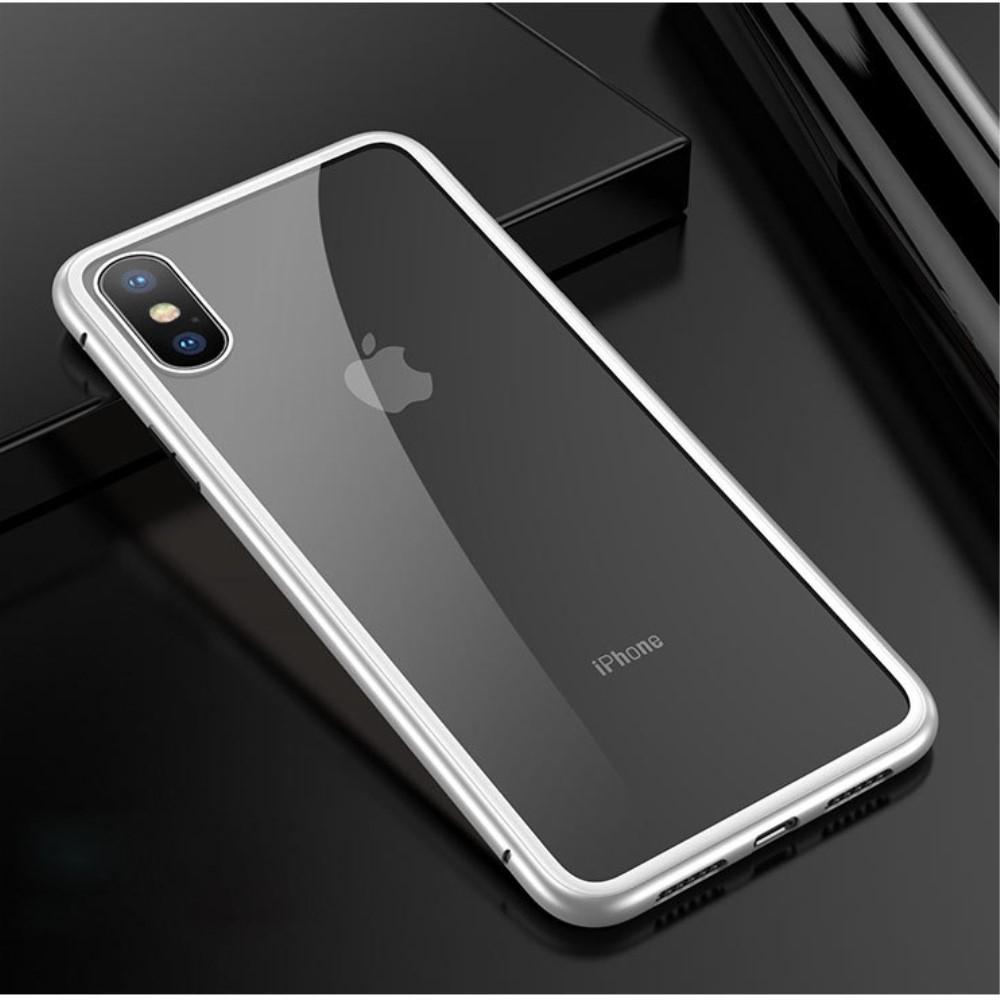 Image of   iPhone Xs/X - Hardcover metal/hærdet glas - TRansparent/Sølv
