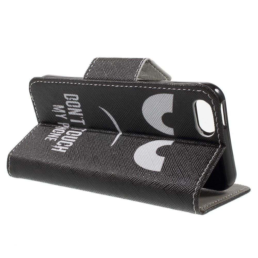 """iPhone 5/5s/SE - Pu læder cover """"Dont touch my phone"""" - Sort"""