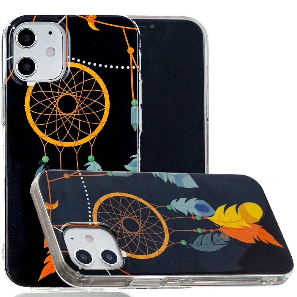 Billede af iPhone 12 - Gummi cover med printet Design - Fjer/drømmefanger