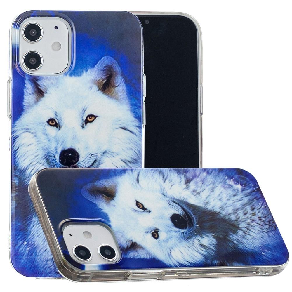 iPhone 12 mini - Gummi cover med printet Design - Hvid ulv