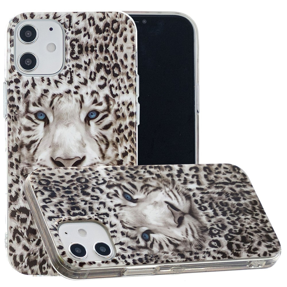 iPhone 12 mini - Gummi cover med printet Design - Leopard
