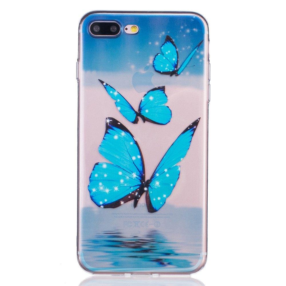 iPhone 8 Plus/7 Plus - Cover / Pung - Blå sommerfugle