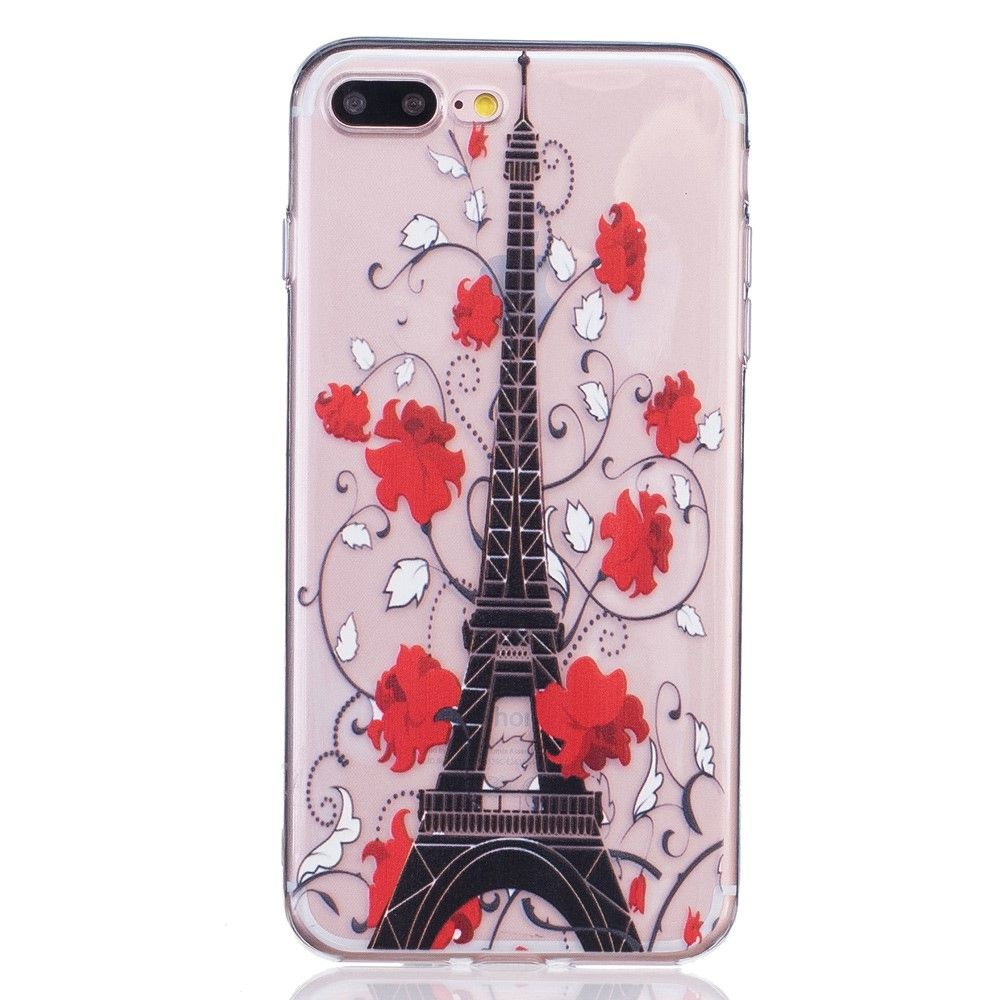 iPhone 8 Plus/7 Plus - Cover / Pung - Eiffeltårn/Blomster