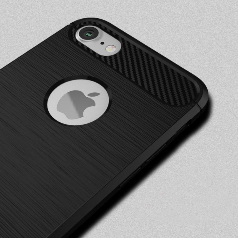 Image of   iPhone 8/7 - IPAKY TPU cover børstet design - Sort