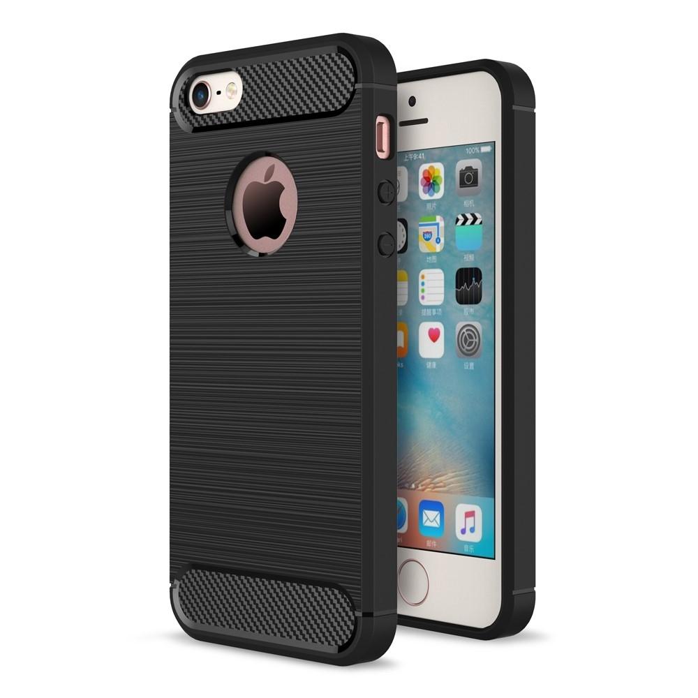 Image of   iphone 5/5s/SE - Gummi cover i Børstet Design - Sort