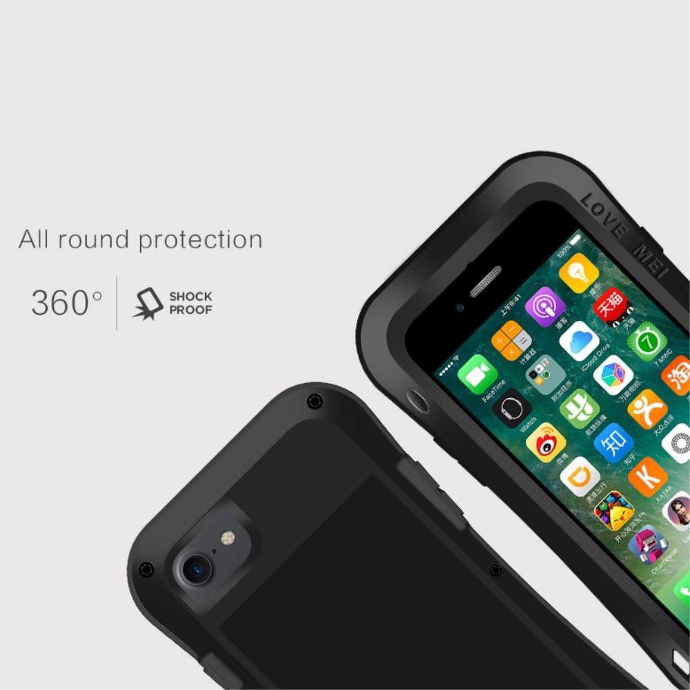 Image of   iPhone 8/7 - LOVE MEI shockproof etui m/skærmbeskytter - Sort