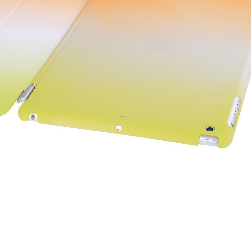 Image of   iPad 9.7 (2017) - Tri-Fold smart læder cover - Grøn/Orange