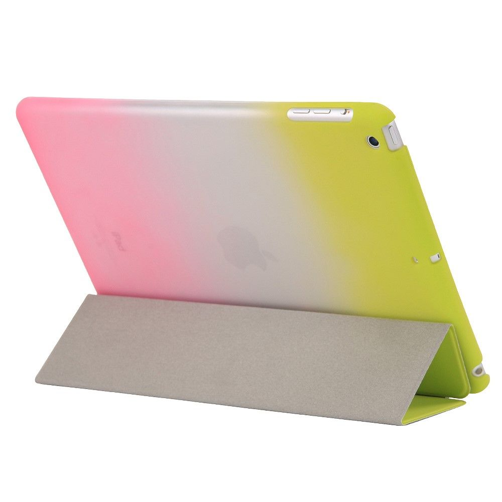 Image of   iPad 9.7 (2017 / 2018) - Tri-Fold smart læder cover - Grøn/Pink