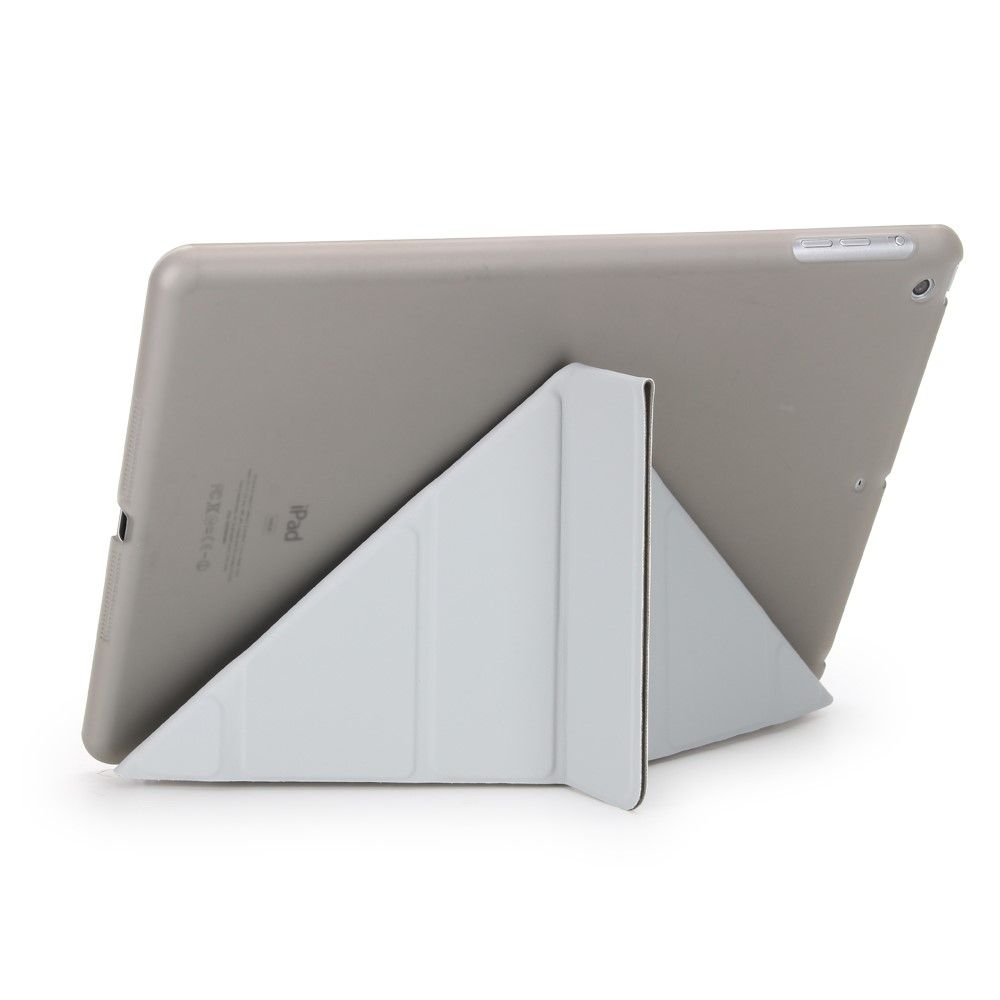 Image of   iPad 9.7 (2017 / 2018) - Origami 2-i-1 læder cover / etui - Grå