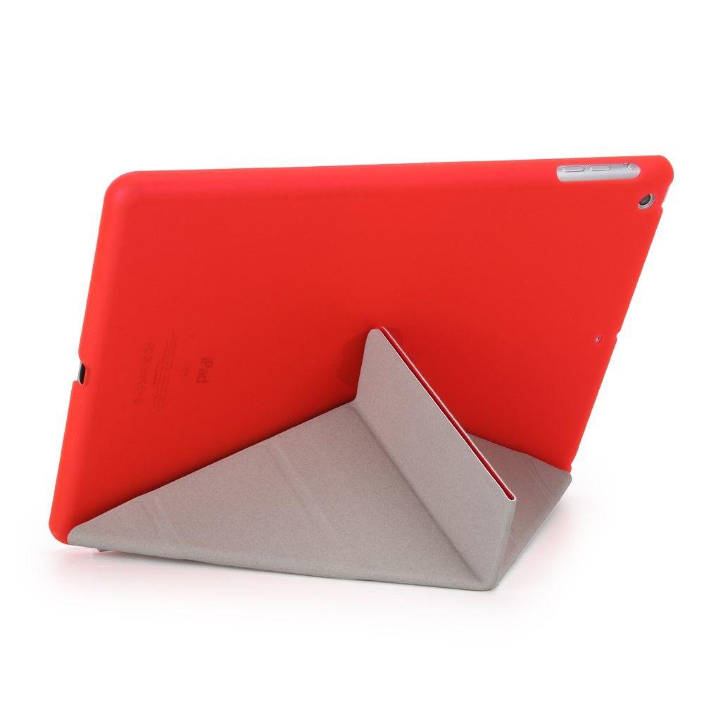 Image of   iPad 9.7 (2017) - Origami 2-i-1 læder cover / etui - Rød
