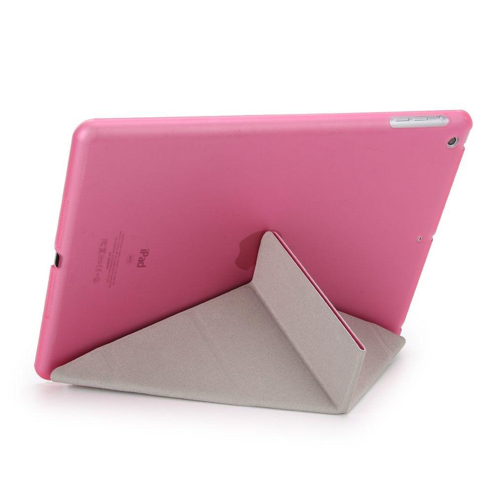 Image of   iPad 9.7 (2017) - Origami 2-i-1 læder cover / etui - Pink