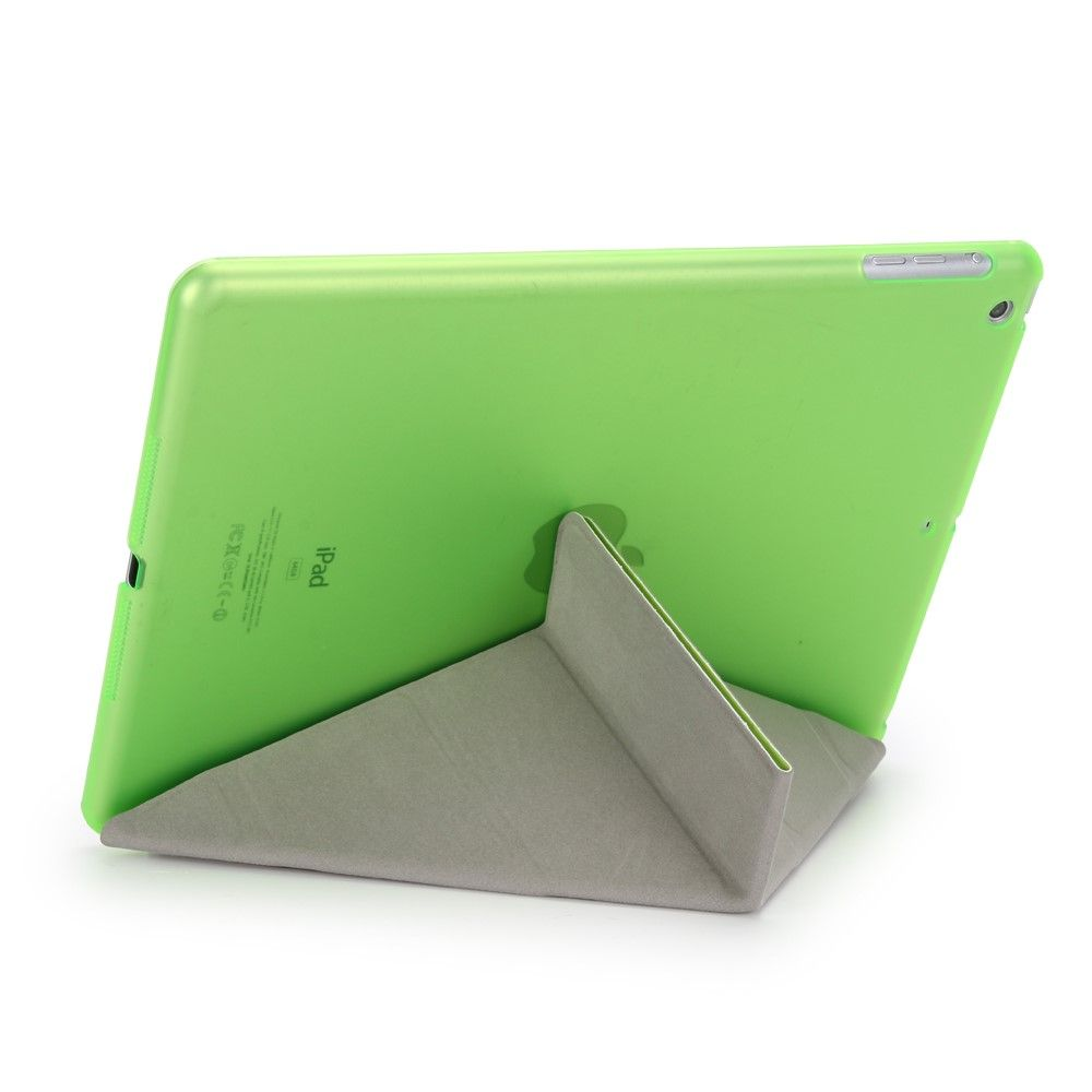 Image of   iPad 9.7 (2017) - Origami 2-i-1 læder cover / etui - Grøn