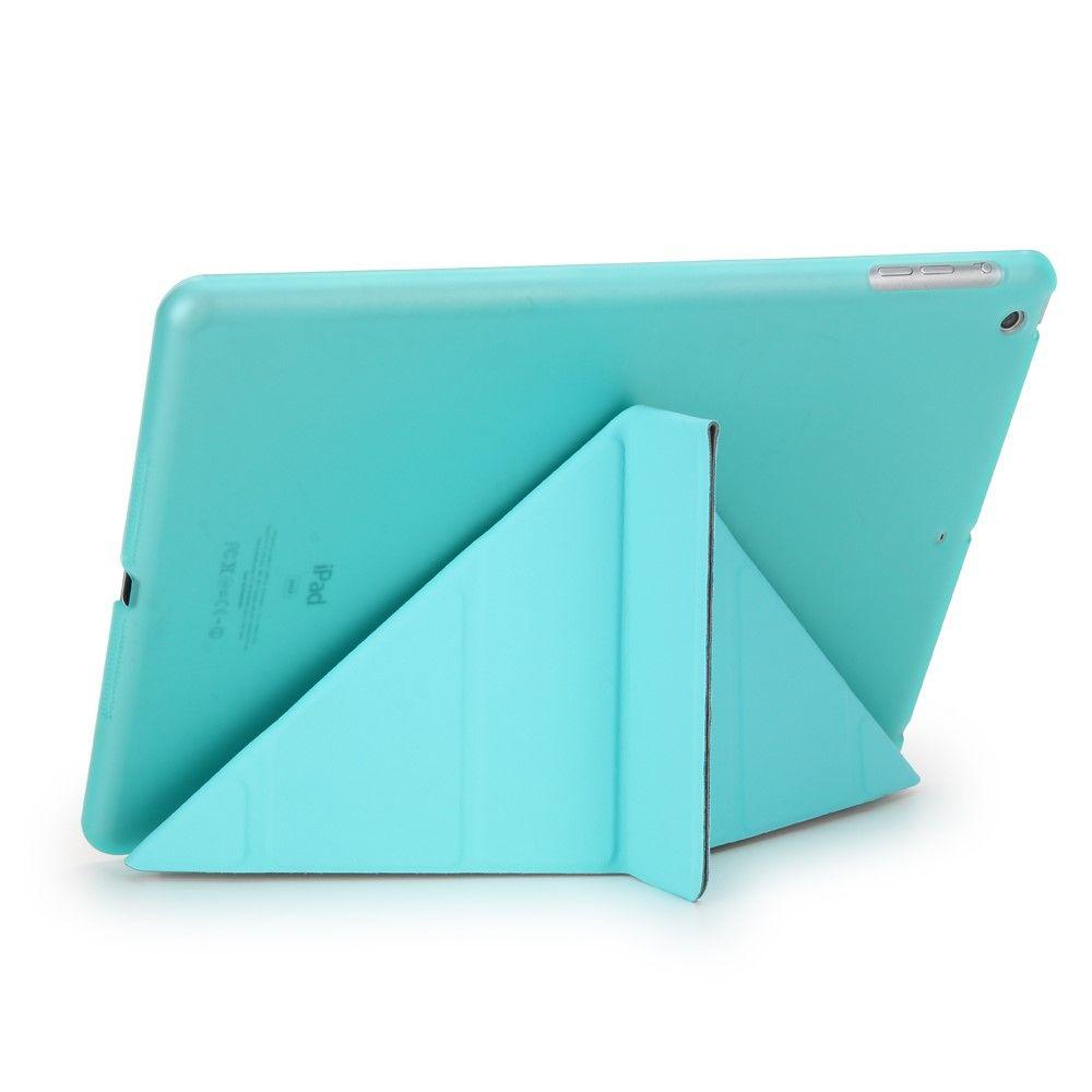 Image of   iPad 9.7 (2017) - Origami 2-i-1 læder cover / etui - Smaragd blå