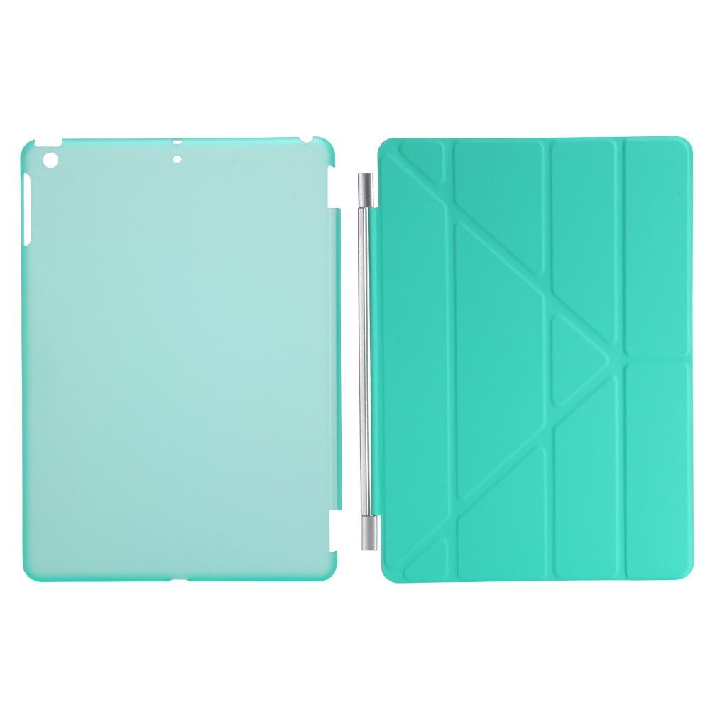 Image of   iPad 9.7 (2017) - Origami 2-i-1 læder cover / etui - Cyan