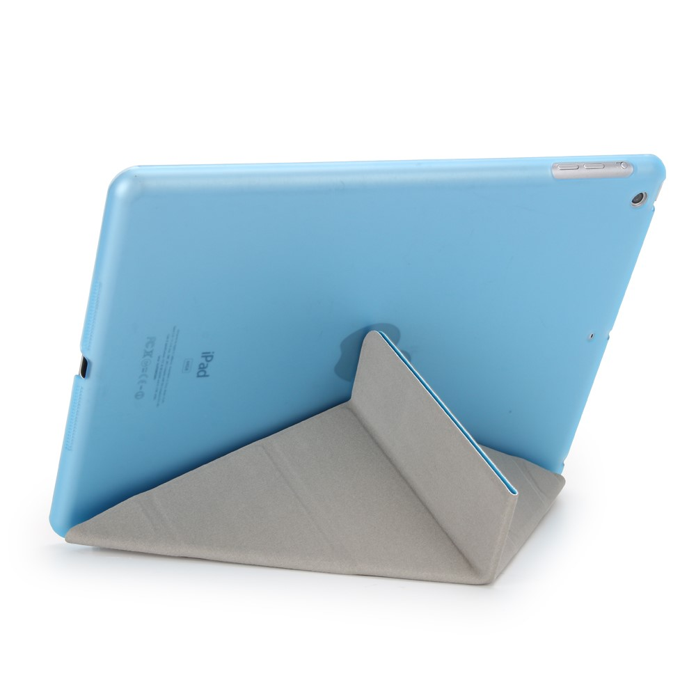 Image of   iPad 9.7 (2017) - Origami 2-i-1 læder cover / etui - Lyseblå