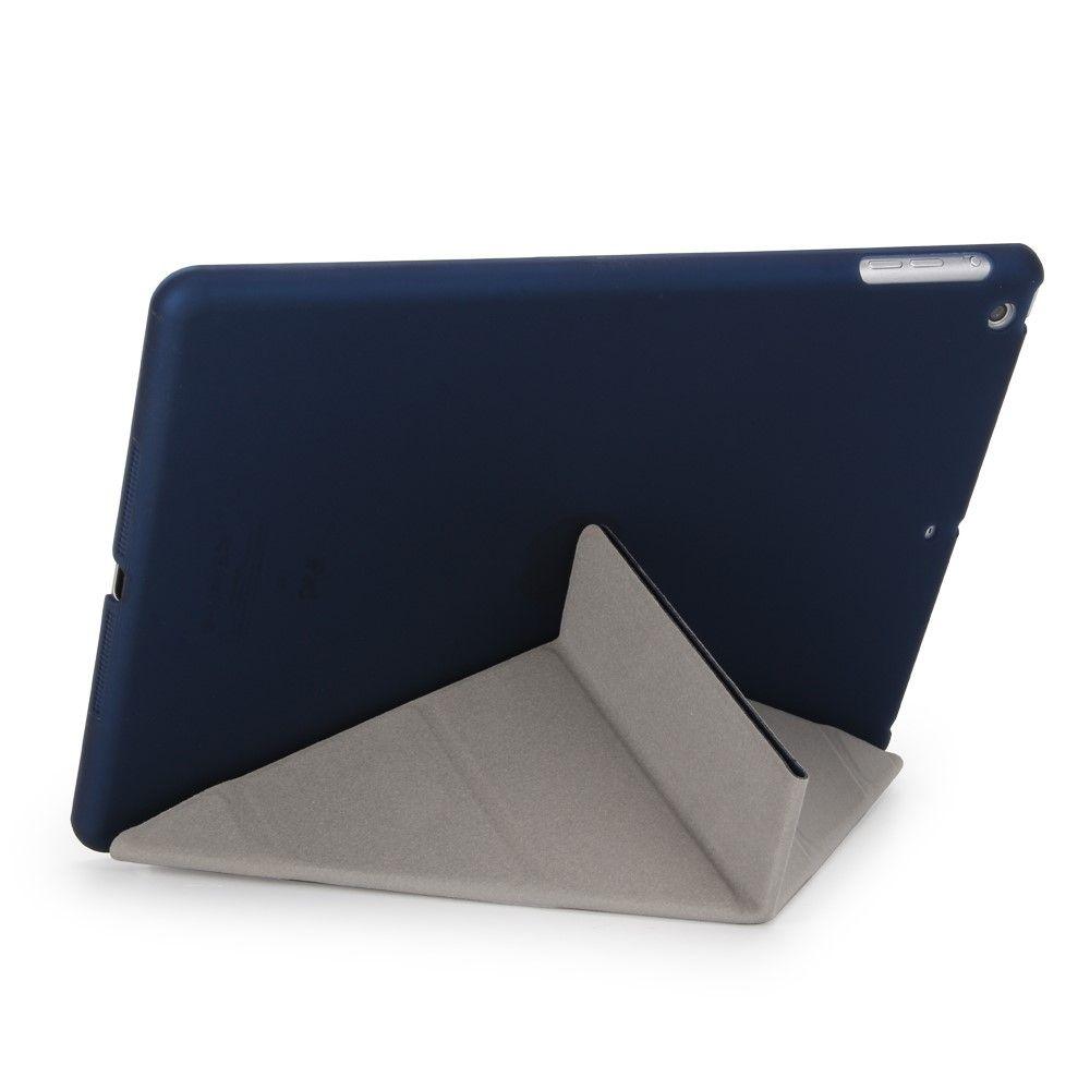 Image of   iPad 9.7 (2017) - Origami 2-i-1 læder cover / etui - Mørkeblå