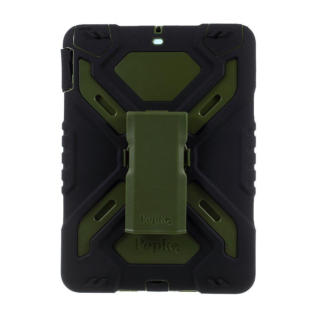 Image of   iPad 9.7 (2017 / 2018) - PEPKOO Spider hybrid cover - Grøn/sort