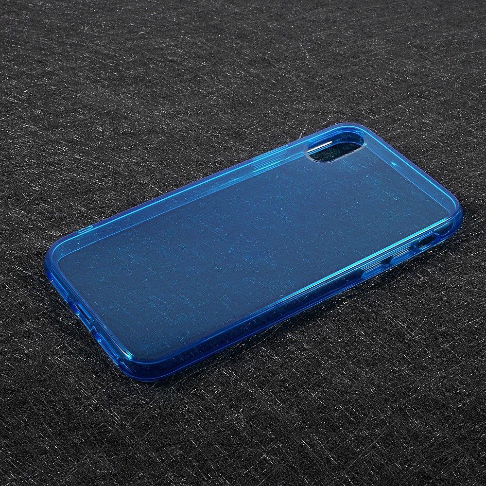 Image of   iPhone X - TPU blødt klart cover - Blå